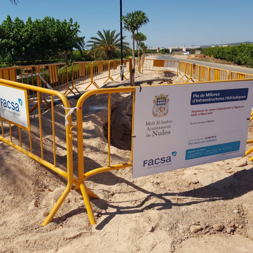 FACSA y el Ayuntamiento de Nules amplían la red de distribución de agua potable hasta Mascarell