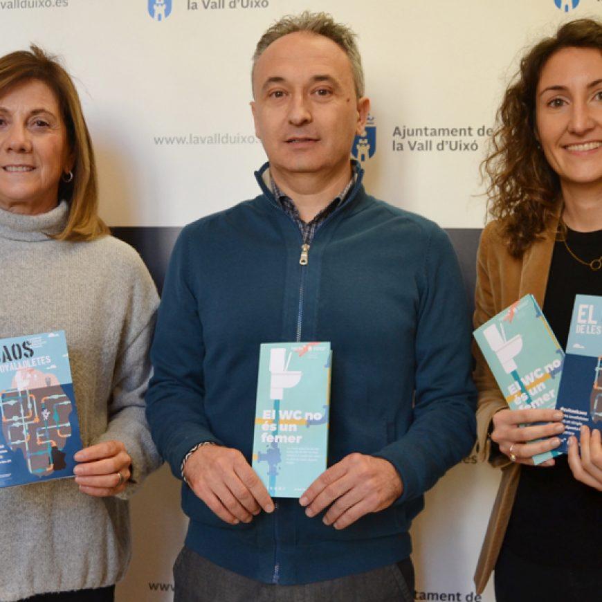 El Ayuntamiento de la Vall d'Uixó y FACSA ponen en marcha una campaña para informar de los riesgos de arrojar residuos al inodoro