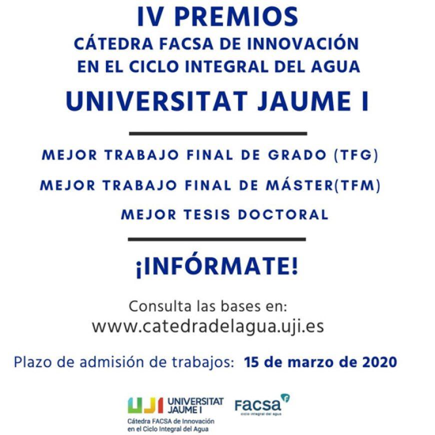 La Cátedra FACSA de la UJI convoca sus IV Premios a los mejores trabajos en temas de agua