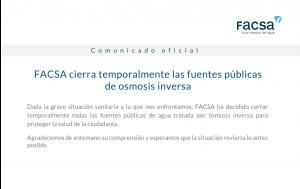 FACSA cierra temporalmente las fuentes públicas de osmosis inversa
