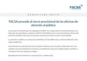 FACSA cierra provisionalmente las oficinas de atención al público