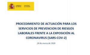El Ministerio de Sanidad aprueba el Procedimiento de actuación para los servicios de prevención de riesgos laborales frente a la exposición al coronavirus (sars-cov-2)