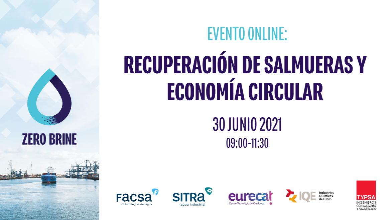 ZERO BRINE organiza un webinar para promover la economía circular a partir de la recuperación de recursos de salmueras